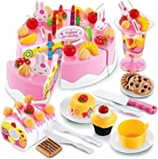 Magicwand DIY 75 Pcs Pretend Play Birthday Cutting Cake for Kids