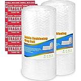 Pobuu 2 rouleaux papier à bulles, bulles d'air film à bulles pour déménagement et emballage, 300 mm x 11 m/rouleau, perforés