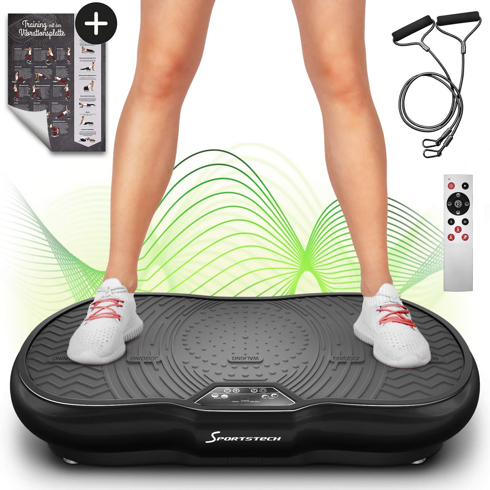 Sportstech VP200 Vibrationsplatte mit Bluetooth, innovativer Oszillationstechnologie für zu Hause, inkl. Poster + Trainingsbändern + Fernbedienung + Integrierter Lautsprecher im Vibrationsgerät