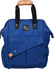 R for Rabbit Oxford Caramello Delight Multi-Function Durable and Stylish Waterproof Diaper Bag Backpack, Large (Blue, DBCMB02)