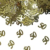 Folat - tafelconfetti getal getal 50 1 x 14 g. goudkleurig