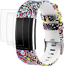 """AFUNTA Fitbit Charge 2 Elastomer Armband Ersatz mit Displayschutzfolien, 1 Printing Design Band Armband 6,5""""- 9,0"""", mit 3 Pack Anti-Scratch TPU Schutzfolien"""
