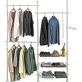 SoBuy® FRG34 Penderie Garde-Robe Portant de vêtement 3 barres 3 paniers largeur (160-195cm) x hauteur (103-278cm), Télescope