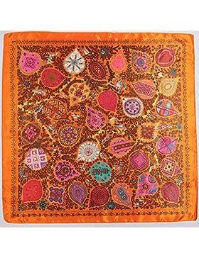 La mujer moda negro Bufanda de árbol de vida Silk-Satin impreso mantón cuadrado