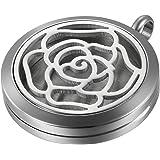 JewelryWe Aromaterapia Collana con Pendente Diffusore dell'Olio Essenziale, Rosa Ciondolo Retro Annata Collana del Profumo Re