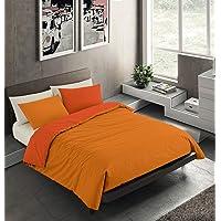 Banzaii Set Copripiumino Bicolor 100% Microfibra con Federa Double Face Singolo 150x200 cm Arancio Chiaro/Arancio Scuro