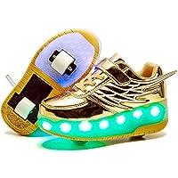Jungen Mädchen Rollschuhe mit Rollen LED Lichter Schuhe 7 Farben Leuchtend Rollenschuhe USB Aufladbare Blinken…