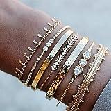 Branets Juego de pulseras de cristal en capas Boho, brazaletes con borlas de oro, joyería de cadena de mano de diamantes de i