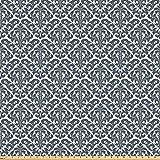 ABAKUHAUS Damasco Tessuto a Metraggio, Natura Vittoriana Revival, Tessuto Decorativo per Tappezzeria e Accenti Casa, 10M (160x1000cm), Crema Antracite