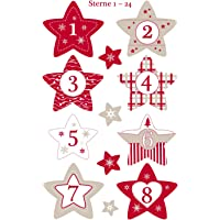 AVERY Zweckform Art. 52890 Calendrier de l'Avent Chiffres 24 étoiles (autocollants de Noël, papier, autocollant, chiffre…