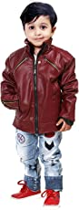 Comfort Zonee Latest Fashion Mehroon Faux Leather Jacket for Kids Boys