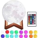 Justech Lámpara de Luna en 3D 15cm Control Remoto y Control Táctil 16 Colores 4 Modos RGB Luz Nocturna Luna LED con Soporte d