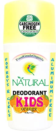 KIDS 100% Natural Organic Healthy Roll On Deodorant for Children Healing Detox Aluminum-Free Carcinogen Free Certified Vegan