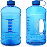 زجاجة مياه مقاس L بعبارات تحفيزية سعة 3 لتر خالية من البيسفينول ايه، للرياضات الخارجية (ازرق)