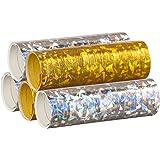 PartyMarty Silber & Gold Mix - Metallic Luftschlangen im 5er Sparpack - 5 Rollen mit je 18 holografisch-glitzernden Luftschlangen - für Silvester, Karneval, Fasching, Geburtstag, Hochzeit GmbH®