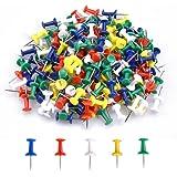 200 Pièces Multicolores Décoratives Punaises, Punaises à tête en Plastique, Épingles Murales, Punaises Aiguille pour Carte et