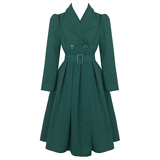 1950s Jackets, Coats, Bolero | Swing, Pin Up, Rockabilly hearts and Roses London Vintage 1950s Retro Statement Military Swing Coat £59.99 AT vintagedancer.com
