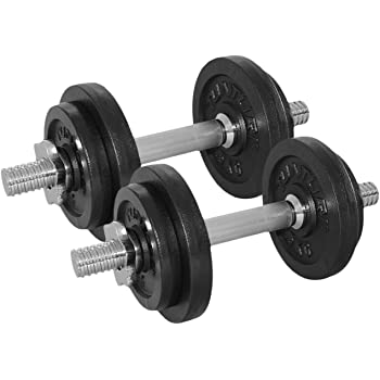 Tunturi Weight Set Mancuernas con 2 Barras Ajustables, Unisex Adulto, Negro, 20 kg
