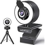 AGPTEK Webcam 1080p Full HD, stereo microfoon, 360° rotatie, 95° gezichtsveld, ringlicht, afdekking, statief, pc-USB-camera,
