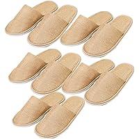 Mackur - Pantofole usa e getta, in cotone, da hotel, chiuse, taglia unica, per hotel, viaggi, 5 paia
