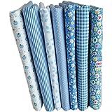 LUFA 7pcs Serie Azul de algodón de Tela de Flores patrón Floral de Costura de Material Textil para Cama de Remiendo de Bricol