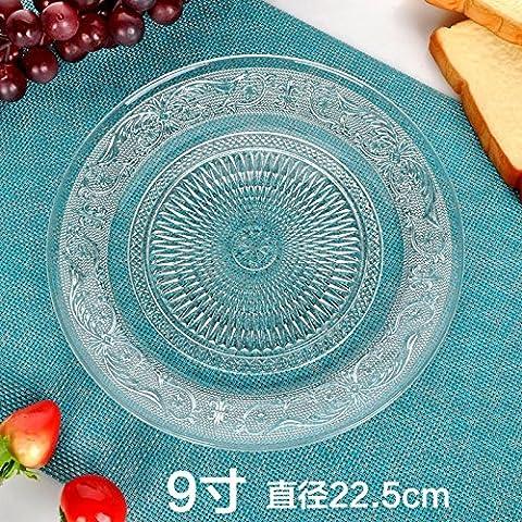 yifom Grande assiette en verre transparent Plaque Fruits Assiette à gâteau