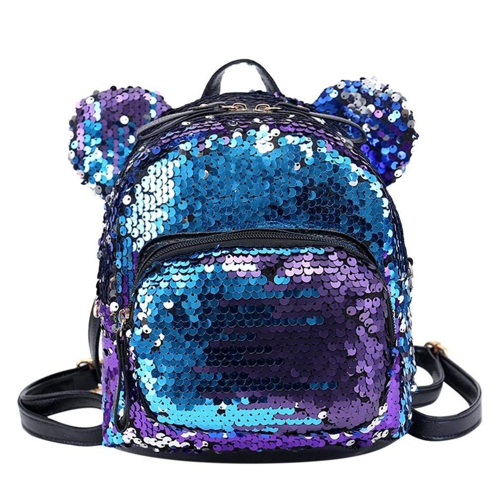Mochila de viaje OneMoreT, con lentejuelas brillantes y purpurina, para niñas