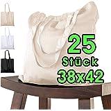 25 Stück Baumwolltasche 38 x 42 cm unbedruckt lange Henkel Stofftasche Tragetasche Umhängebeutel Baumwollbeutel Jutebeutel ÖK