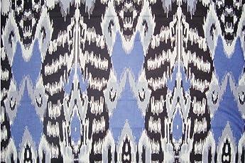 Rajcrafts Blue color Ikat Design Jaiprui Cotton Running Fabric 5 Meter Dress Making Fabric, Fabric, Running Fabric, Cotton Fabric, Dress Runnig fabric,Handmade Fabric , Hand block Fabric, Fabric By Meter, Cotton Fabric For men, Cotton fabric for woman