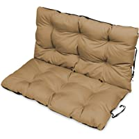 SuperKissen24 Large Garden Bench Seat Cushion Seat Pad - 100x50 and 100x60 cm back - Seat cover for Garden Swing or Garden Sofa - Outdoor/Indoor Long Bench Pillow - Waterproof - beige