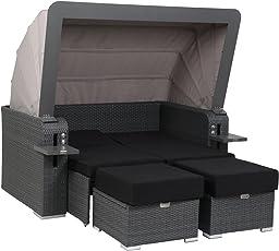 greemotion Rattan-Lounge Bahia Lux, Sofa & Bett aus Polyrattan, Indoor & Outdoor, 2er Garten-Sofa mit Stahl-Gestell, Daybed mit Dach, grau-Bicolor