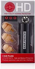 EarPeace HD High Fidelity Hearing Protection: Ear Plugs for Concerts & Music Professionals (Black/Tan)
