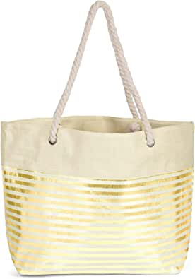 styleBREAKER Damen XXL Strandtasche mit Metallic Streifen und Reißverschluss, Schultertasche, Shopper 02012281