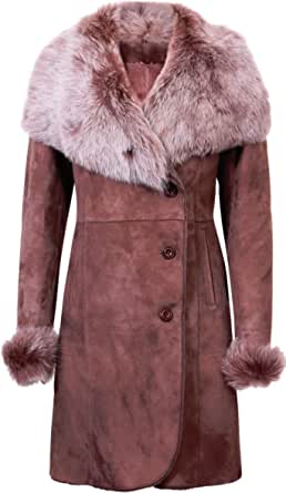 Infnity Leather Cappotto da Donna in Pelle di Montone Merino Shearling Marrone Caldo con Collo Toscano