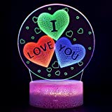 Night Light for Girls, 3D 3D Optical Illusion Lamp, Bedside Table Lamp, Valentine's Day Heart Light, 7 Colour Changing Touch