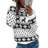 CNFIO Suéter De Navidad Jerseys Mujer Invierno Jersey Blusa Alce Mujer Disfraz de Navidad Familiar