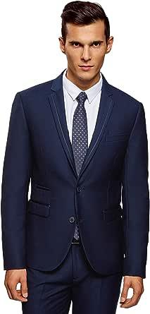 oodji Ultra Men's Slim-Fit Blazer with Decorative Details