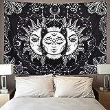 Vokaer Zon en Moon Tapestry Brandende Zon met Star Tapestry Psychedelic Tapestry Zwart en Wit Mystic Tapestry Mandala Muur Op