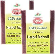 khadi herbal dark brown henna natural menhadi for hair, two boxes of 60 gm. each