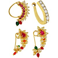 VAMA Fashions Pink Silver Plated Maharashtrian Nath Combo Set Clip-on Nose Ring Without Piercing for Women