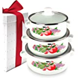 iBELL ECS3316FL Decorative Enamel Casserole with Sturdy Glass Lids, Gift Set of 3 (1.1, 1.7, 2.2Litre), White