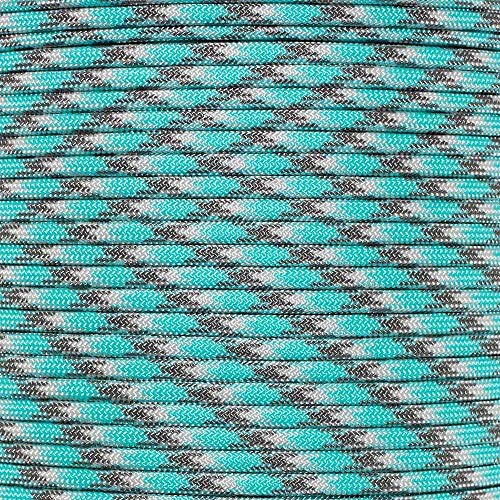 PARACORD PLANET 550 LB Type III 7 Strand 4mm Tactical Cord with Choices of 10, 20, 25, 50, 100, Feet Hanks or 250 & 1000 Foot Spools with 3/8 Inch Black Buckles - Over 300 Colors to Choose from -