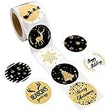 500 pezzi Etichette adesive natalizie per feste di Natale con glitter finti per decorazioni natalizie colore: nero e oro