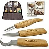 HOLZWURM Set de couteau sculpture bois avec sac, instructions (EN) et modèles, ensemble d'outils de sculpture idéal pour les