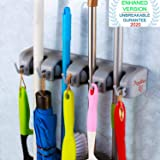 Angel Bear 4 Slot Position Wall Mounted Mop and Broom Holder with 5 Hooks (Standard)