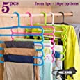 TONY STARK Closet Organizer Space Saving Plastic Multi-Functional Storage Wardrobe Clothes Organizer Hanger for Shirts, Pants, Skirts-32 L x 31 H x 5W cm (Multicolour, Set of 5)