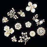 24 Pezzi Perla Strass Abbellimenti Perla di Fiore Strass Bottoni Fiore Perla Abbellimenti Flatback per Artigianato Creazione
