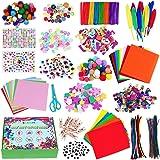 CGBOOM Pipe Cleaners Crafts Kit, 1600+ Pièces Kit de Bricolage, Loisirs Creatifs avec Pompons, Paillettes, Googly Eyes, DIY A