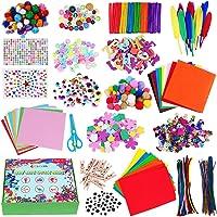 CGBOOM Pipe Cleaners Crafts Kit, 1600+ Pièces Kit de Bricolage, Loisirs Creatifs avec Pompons, Paillettes, Googly Eyes…