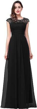 Babyonlinedress Elegant Robe de soiréeBal Longue ras au sol avec motif en mousseline de soie, avec Appliques